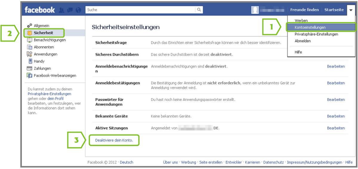 Facebook profile löschen