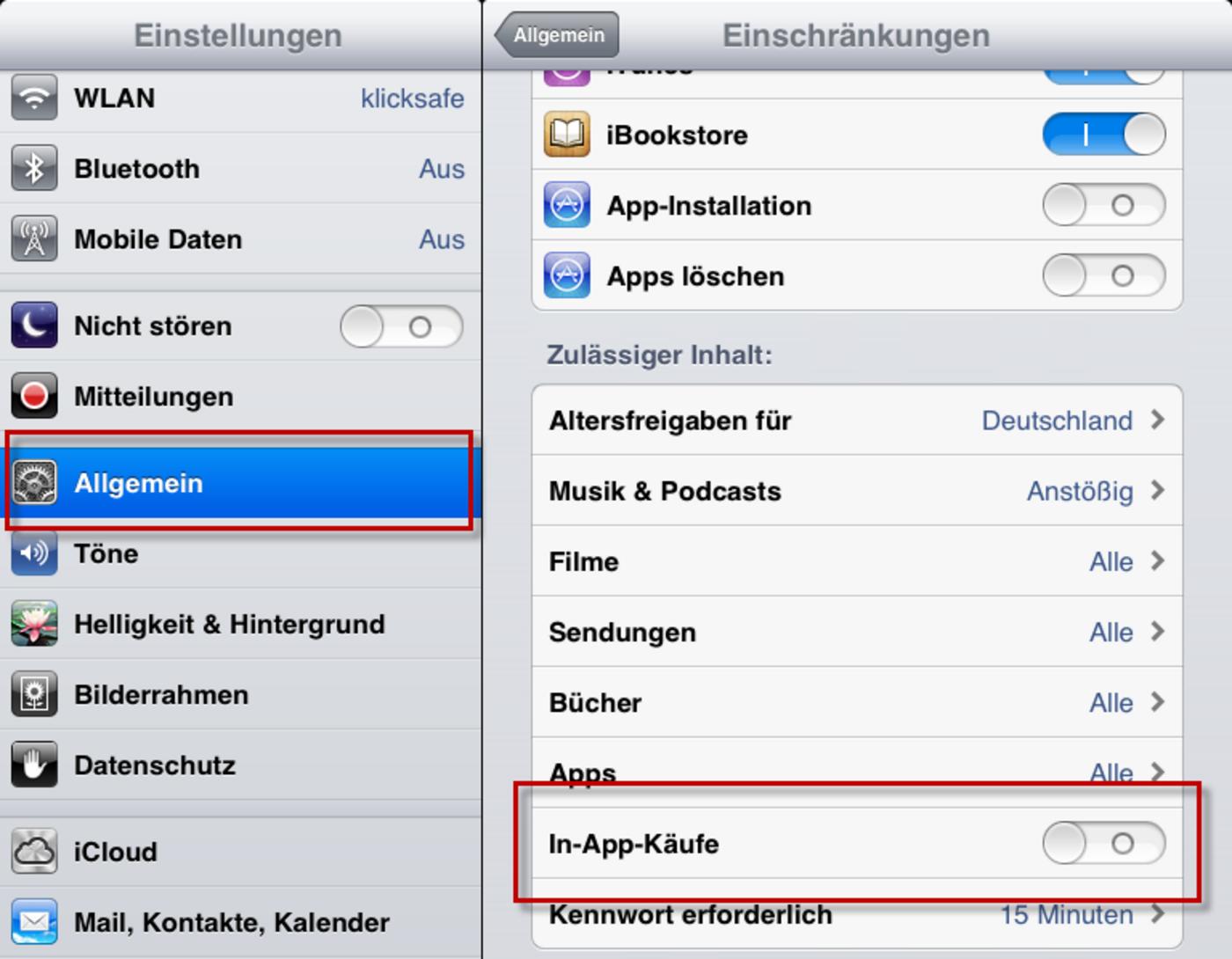 In app käufe aktivieren iphone