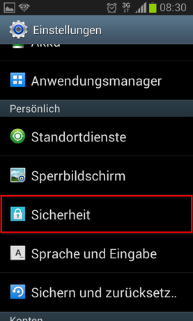 Android Screenshots: PIN Sperre, Sperrbildschirm